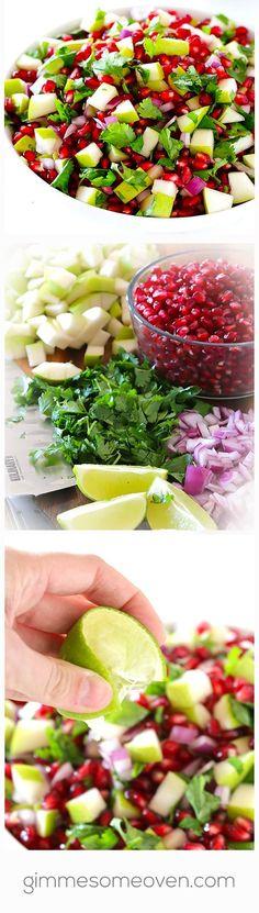 5-Ingredient Pear Pomegranate Salsa | gimmesomeoven.com