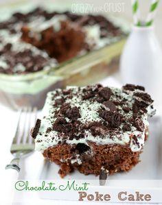 Chocolate Mint Poke Cake | crazyforcrust.com | Chocolate and mint in every bite!
