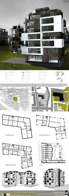 Studentský projekt. LS 2013/2014. FSv ČVUT v Praze. New Architecture, Residential Complex, Facades, Minimalist Design, House Plans, Floor Plans, Exterior, How To Plan, Building