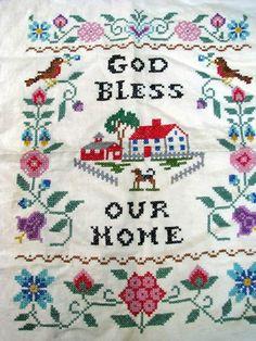 cross stitch samplers antique   Vintage Cross Stitch Home Sampler by dimestorechic on Etsy