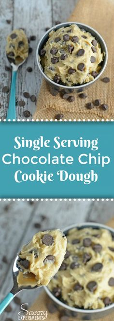Eggless Single Serving Chocolate Chip Cookie Dough is an eggless cookie dough recipe that makes just enough for one person. Great for a cozy night on the couch or after a long, stressful day. #egglesscookiedough #singleservingcookiedough www.savoryexperiments.com