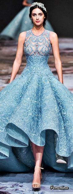 Michael Cinco Couture Michael Cinco Couture, High Low, Ivy, Dresses, Fashion, Blue Nails, Sky, Chic Dress, Haute Couture