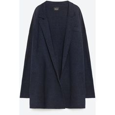 Zara Oversized Cardigan ($70) ❤ liked on Polyvore featuring tops, cardigans, jackets, coats, outerwear, chaquetas, dark blue, zara tops, oversized cardigan and zara cardigan