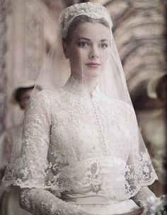 Princess Grace looking breathtaking in lace and satin at her marriage to Prince Ranier II of Monaco, 1956