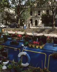 #London #canal #bout #house #flowers #blue #sunny