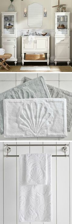 Shell Bath Towels & Rug | Pottery Barn Catalog... http://www.beachblissdesigns.com/2017/03/sea-shell-bath-pottery-barn-catalog.html