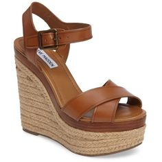 Women's Steve Madden Paso Espadrille Wedge Sandal (1.555 ARS) ❤ liked on Polyvore featuring shoes, sandals, cognac leather, strappy leather sandals, espadrille wedge sandals, wedge sandals, platform wedge sandals and espadrille sandals