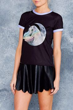 Get your ultimate pastel vibes on in this sweet mythical print, available to nom for just one weekend. Get it on your bod!Where else could unicorns possibly come from but outer space? Black Milk Clothing, Baseball Tees, Ringer Tee, Weekend Sale, Tee Dress, My Black, Unicorns, Daily Fashion, Good Times
