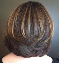 70 Brightest Medium Layered Haircuts to Light You Up - Layered Bob With Highlights For Thick Hair - Medium Layered Haircuts, Bob Hairstyles For Thick, Medium Hair Cuts, Hairstyles Haircuts, Short Hair Cuts, Medium Hair Styles, Curly Hair Styles, Layer Haircuts, Layered Hairstyles