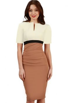Ruth Langsford wears Nadia Colour Block Sleeved Dress