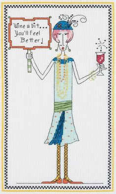 "dolly mamas cross stitch kits | Dolly Mamas ""Wine A Bit..You'll Feel Better!"" Cross Stitch Kit ..."