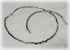 Silver and Brass Beaded Jewelry Set/Unisex Jewelry/Men's or Ladies Gift Idea/Gender Neutral Jewelry/Lightweight Necklace and Bracelet Set by TremorsToTreasures on Etsy