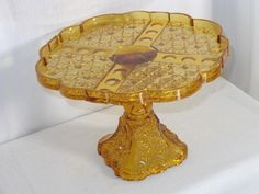 "EAPG Amber Glass ""Daisy & Button Thumbprint Panel"" Cake Stand made by Adams & Co. circa x 7 Amber Glass, Daisy, Buttons, Antiques, Cake, Pattern, Antiquities, Antique, Margarita Flower"