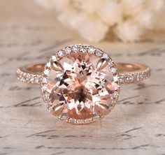 $539 Round Morganite Engagement Ring Pave Diamond HALO 14K Rose Gold 9mm