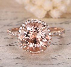 $539 Round Morganite Engagement Ring Pave Diamond HALO 14K Rose Gold 9mm