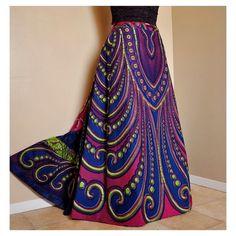 Long African print skirt.