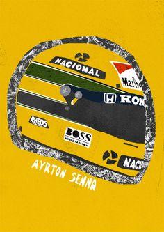 Ayrton Senna helmet illustration