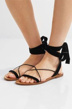 Valentino - Velvet And Leather Sandals - Black - IT