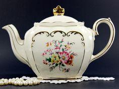 Sadler Full Sized Cube Teapot, English 1930s Porcelain Tea Pot 12630
