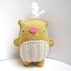 Golden Yellow Hamster - Recycled Wool Sweater Plush Toy