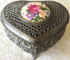 Vintage Silver-Plated Embossed Footed Jewelry/Trinket Box (8161), Made in Japan