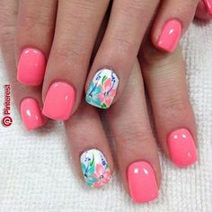 Nail art is a very popular trend these days and every woman you meet seems to have beautiful nails. It used to be that women would just go get a manicure or pedicure to get their nails trimmed and shaped with just a few coats of plain nail polish. Spring Nail Art, Spring Nails, Summer Nails, Cute Nails For Spring, Fall Nails, Hawaiian Nails, Beach Nails, Beach Vacation Nails, Summer Holiday Nails