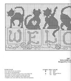 Cross-stitch Welcome Cats, part 2... with the color chart
