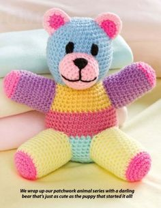 W836 Crochet PATTERN ONLY Patchwork Teddy Bear Toy Doll Pattern | BeadedBundles - Craft Supplies on ArtFire