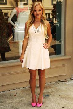 Lucky For You Dress: Cream