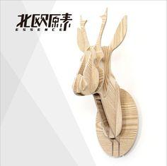 Nordic decoración para el hogar moderno, 3D deer head madera, pequeño reno caribou elk alce cervatillo cabeza, canadá estilo pared ciervos decoración del hogar(China (Mainland))