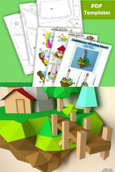 •••DIY PAPERCRAFT 3D MODEL••• Have fun and also decorate your home. Spend time with beloved family or friends and make your own paper craft Lighthouse sculpture.   DIMENSIONS 📐 ● Height: 69.8 cm / 27.5 in ● Width: 47.6 cm / 18.7 in ● Depth: 27.5 cm / 10.8 in  Recommended tipy of paper: A4 (US Letter)/A3 (US Tabloid) colored or white cardstock paper 160-300 gsm / 60-110 lb (when print use scale 100%)  #etsyitem #instantdownload #lowpoly #walldecor #paperart #papercraft #wallart #cutandfold 3d Origami, Origami Easy, Origami Lights, Floating Island, Wall Decor, Wall Art, Paper Models, Decorating Your Home, Card Stock