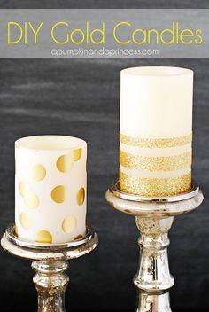 DIY Polka Dots : DIY Gold Glitter Candles