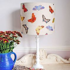 Featuring an attractive array of British Butterflies printed on natural linen cotton, this Lampshade will make a colourful focal point in the room.   Suitable for a pendant or table lamp.  Matching cushions available on the Country Living General Store.  Measurements: H 25 x D 30cm