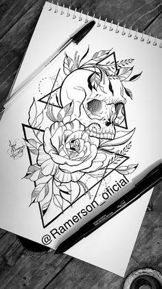 Skull Art Tattoo Ideas Flower 31 Ideas For 2019 Tattoo Sketches, Tattoo Drawings, Art Sketches, Tattoo Art, Skull Tattoos, Body Art Tattoos, Sleeve Tattoos, Tattoo Caveira, Dibujos Tattoo