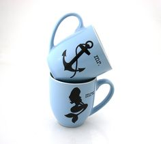 Mr and Mrs mugs mermaid anchor mug set gift for by LennyMud on Etsy #beachwedding