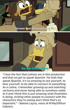 I'm a Hispanic woman and this makes me so happy! Disney And More, Disney Fun, Disney And Dreamworks, Disney Pixar, Disney Ducktales, Three Caballeros, Duck Tales, Scrooge Mcduck, How To Speak Spanish
