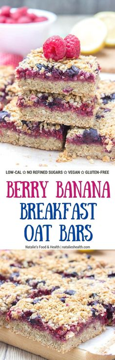 Wholesome Berry Banana Breakfast Oat Bars filled with fresh raspberries and blueberries, made with all HEALTHY ingredients. These bars are vegan, dairy-free, refined sugar-free and gluten-free. Perfect low-calorie summer breakfast that the whole family will devour | natalieshealth.com