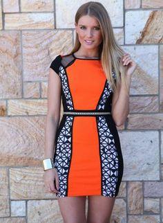 Orange, White, & Black Panel Bodycon Dress,  Dress, orange geo print panel bodycon, Chic