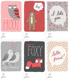 Cheeky Mini Valentines printable PDF love notes by FandGForest