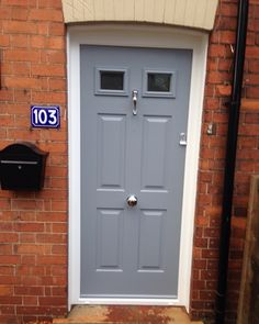 French Grey Tenby door with chrome doctor knocker and victorian pull installed in Ruddington, Nottingham.  Telephone 01158 660066 http;//thenottinghamwindowcompany.co.uk #french #grey #tenby #door #chrome #knocker #victorian #pull #modern #stylish #TNWC