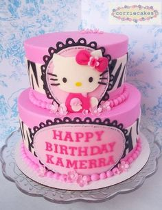 Pink and Zebra Hello Kitty Cake