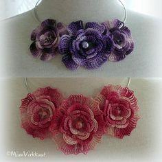 More necklaces #crochet💜 #crochetflowers #MianVirkkuut #crochetnecklace #purpleflowers #pinkflowers