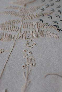 Hannah Nunn: paper cut ferns and forget-me-nots