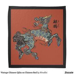 Vintage Chinese Qilin on Chinese Red Bandana