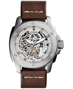 Fossil Men's Automatic Modern Machine Dark Brown Leather Strap Watch 50mm ME3083