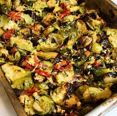 Roasted Tomatoes, onions & brussel sprouts