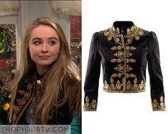 Girl Meets World: Season 2 Episode 19 Maya's Black and Gold Embroidered Jacket