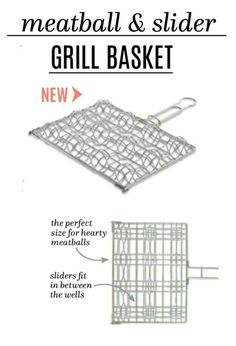 The Pampered Chef stainless steel Meatball & Slider Grill Basket allows you to make 6 sliders or 12 meatballs on the grill at the same time. Meatball Sliders, Grill Basket, Pampered Chef, Cooking Tools, Grilling, Bbq, Spring 2016, House, Products