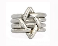 Star of David 4 Piece Puzzle ring Sterling silver. by DafnaDagan