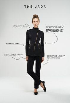 Noel Asmar Uniforms, the Jada in Black. Salon Uniform, Spa Uniform, Scrubs Uniform, Dental Uniforms, Stylish Scrubs, Beauty Uniforms, Scrubs Outfit, Black Scrubs, Uniform Design